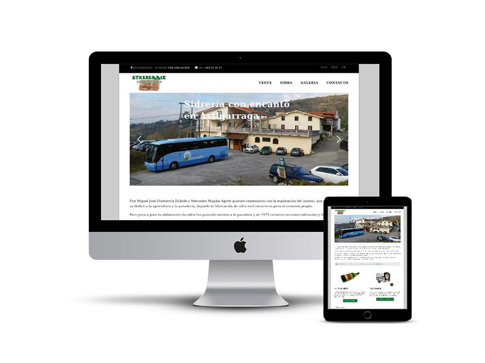 Diseño pagina web sidreria etxeberria