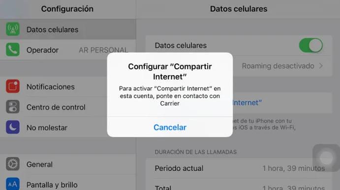 Configurar compartir internet iphone Digi