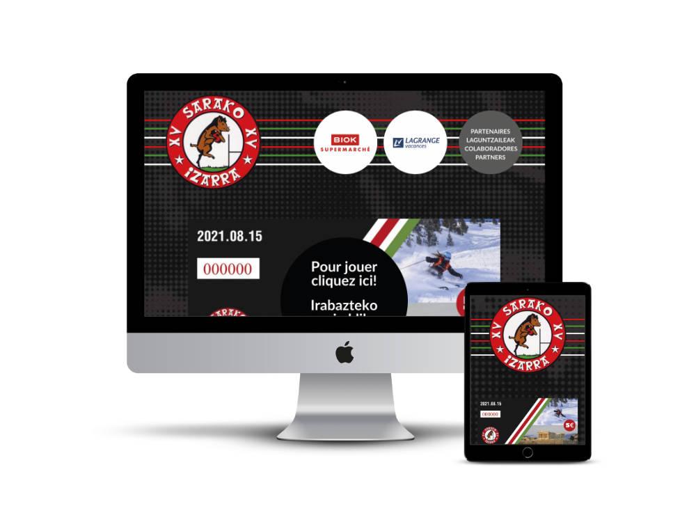 Diseño web del equipo de rugby Sarako Izarra para realizar un sorteo online
